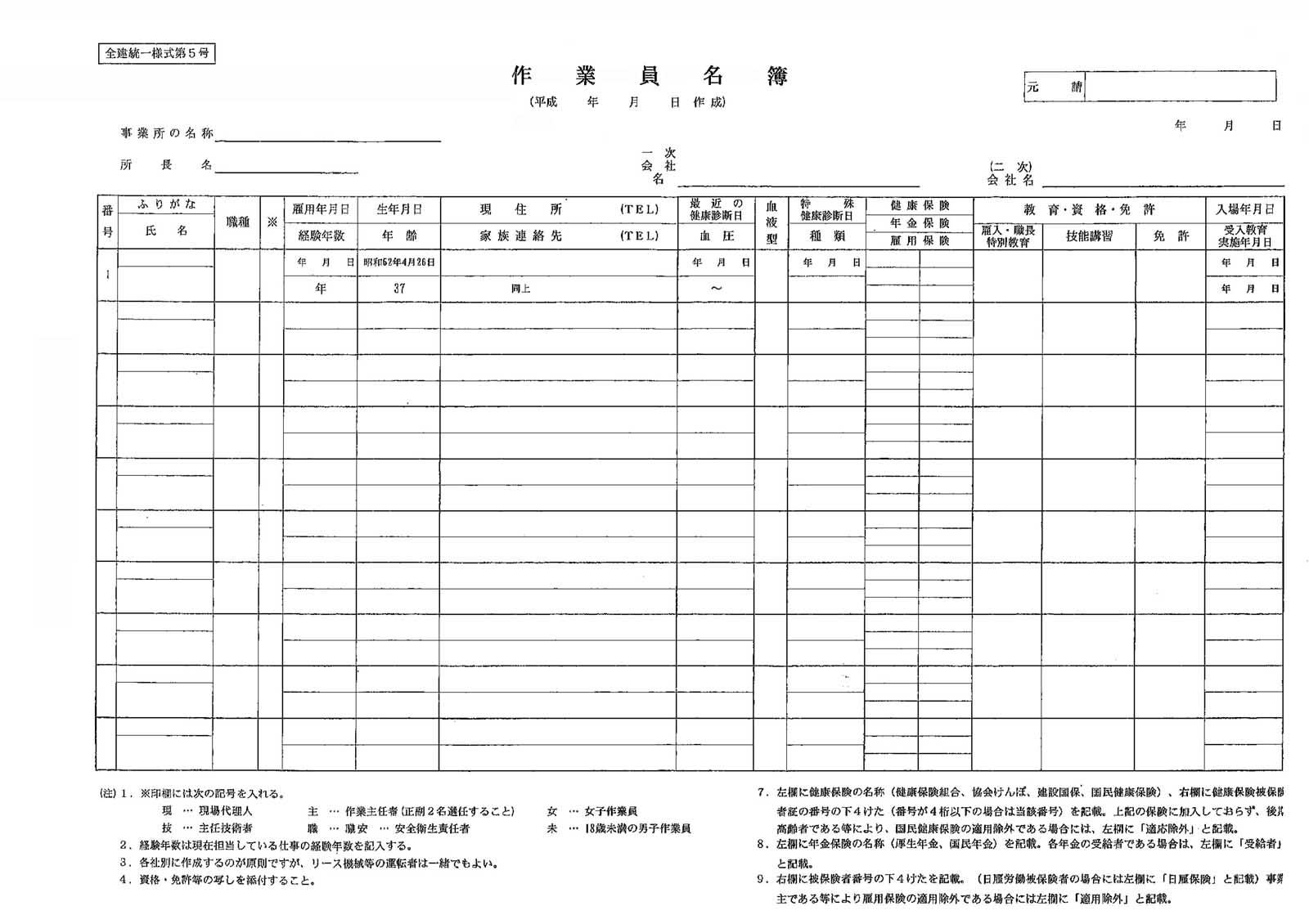 作業員名簿平成27年度版