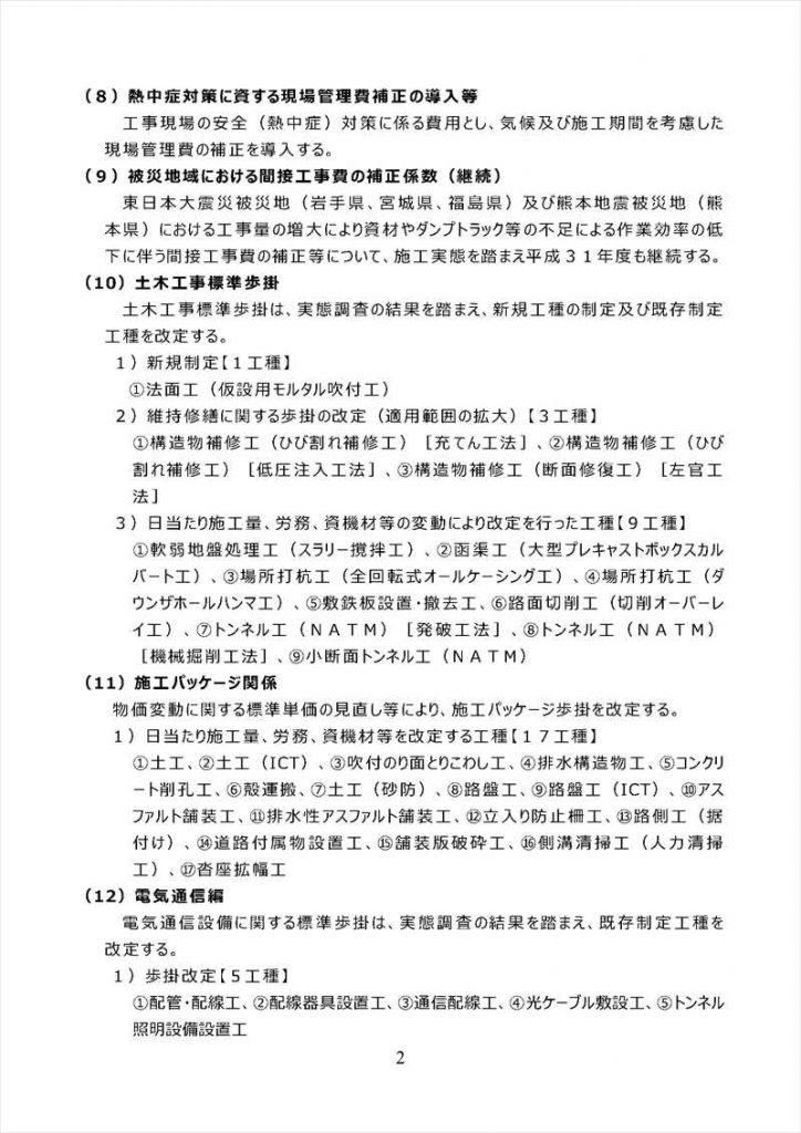 平成31年度国土交通省土木工事・業務の積算基準等の改定03